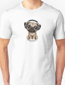 Cute Pug Puppy Dj Wearing Headphones and Glasses T-Shirt