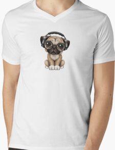 Cute Pug Puppy Dj Wearing Headphones and Glasses Mens V-Neck T-Shirt