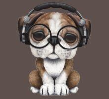 English Bulldog Puppy Dj Wearing Headphones and Glasses One Piece - Short Sleeve