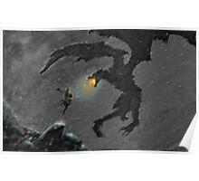 Warrior slaying Dragon Poster