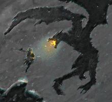 Warrior slaying Dragon by autrouvetout