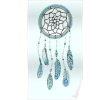 Blue Peacock Feather Tumblr Dreamcatcher Poster