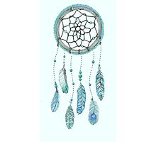 Blue Peacock Feather Tumblr Dreamcatcher Photographic Print