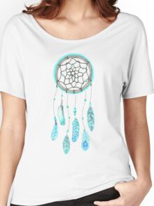 Blue Peacock Feather Tumblr Dreamcatcher Women's Relaxed Fit T-Shirt