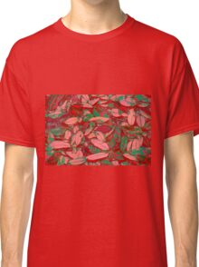 Pink Red and Green Fallen Leaves Classic T-Shirt