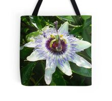 Beautiful Passion Flower With Garden Background Tote Bag