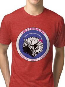I AM A TRICERATOPS - Pink/Blue MBH Tri-blend T-Shirt