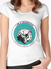 I AM A TRICERATOPS - Teal/Purple MBH Women's Fitted Scoop T-Shirt
