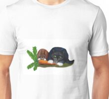 Bunny and Kitty Share a Carrot Unisex T-Shirt