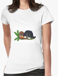 Bunny and Kitty Share a Carrot Womens Fitted T-Shirt