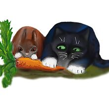 Bunny and Kitty Share a Carrot by NineLivesStudio