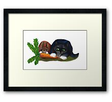 Bunny and Kitty Share a Carrot Framed Print