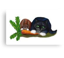 Bunny and Kitty Share a Carrot Canvas Print