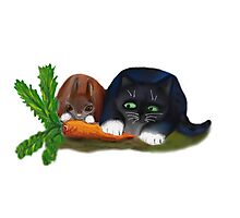 Bunny and Kitty Share a Carrot Photographic Print