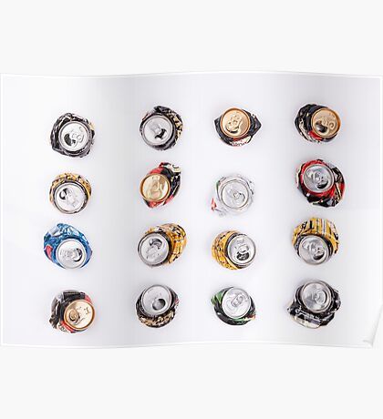 smashed beer drink cans  Poster