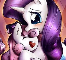 Sisterly love - Rarity & Sweetie Belle by Sybke