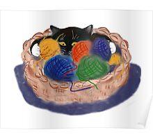 Kitten in Yarn Basket Poster