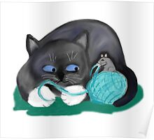 Aqua Ball of Yarn for Mouse and Kitten Poster