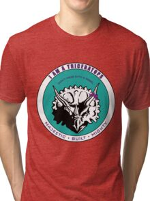 I am A Triceratops - Purple and Teal MBM Tri-blend T-Shirt