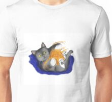 Orange Ball of Yarn and Kitty Unisex T-Shirt