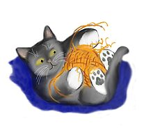 Orange Ball of Yarn and Kitty by NineLivesStudio
