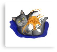 Orange Ball of Yarn and Kitty Canvas Print