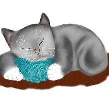 Yarn Pillow for Kitten Nap by NineLivesStudio