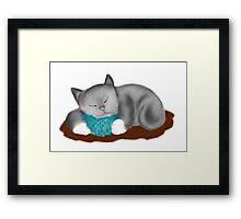 Yarn Pillow for Kitten Nap Framed Print