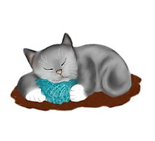 Yarn Pillow for Kitten Nap Photographic Print