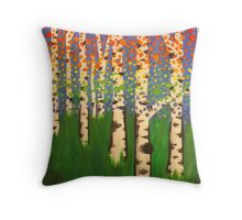 Colorful birches Throw Pillow