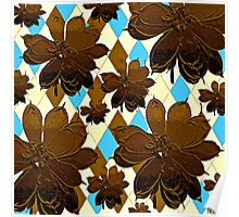 Magnolia Flowers Brown and Blue Poster