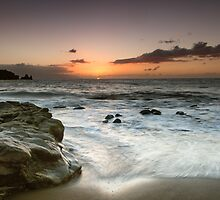 Sunset Surf Washing the Rocks by Kasia-D