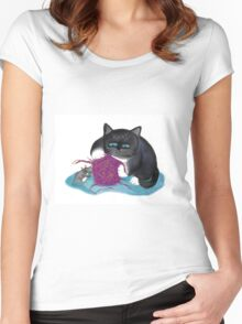 Shredding the Magenta Ball of Yarn Women's Fitted Scoop T-Shirt
