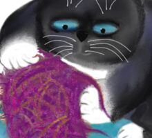 Shredding the Magenta Ball of Yarn Sticker