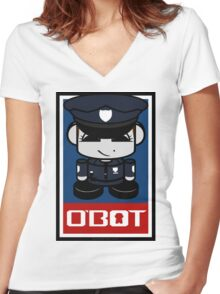 Police Hero'bot 2.1 Women's Fitted V-Neck T-Shirt