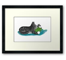 Kitten and Mouse Nap on Green Yarn Ball Framed Print