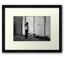 Woman With Dalmatians Framed Print