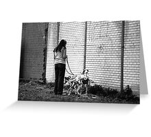 Woman With Dalmatians Greeting Card