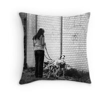 Woman With Dalmatians Throw Pillow