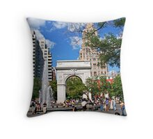 Weekend in Washington Sq., New York Throw Pillow