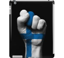 Flag of Finland on a Raised Clenched Fist  iPad Case/Skin