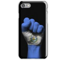 Flag of El Salvador on a Raised Clenched Fist  iPhone Case/Skin