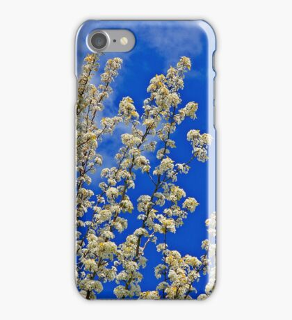 White Flower Blossoms On Blue iPhone Case/Skin