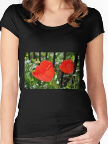 Backlit Red Tulips Women's Fitted Scoop T-Shirt