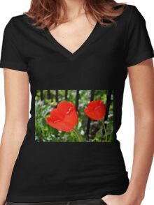 Backlit Red Tulips Women's Fitted V-Neck T-Shirt
