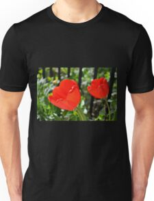 Backlit Red Tulips Unisex T-Shirt
