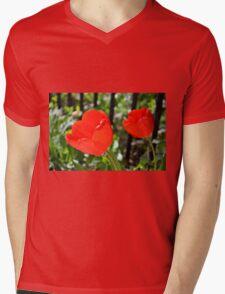 Backlit Red Tulips Mens V-Neck T-Shirt