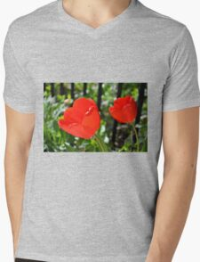 Backlit Red Tulips Mens V-Neck T-Shirt