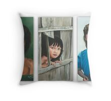 THE LITTLE GIRLS/Oil on canvas Throw Pillow