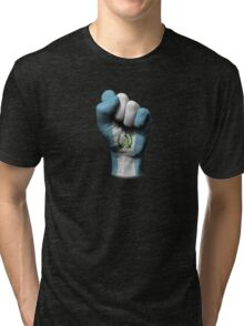Flag of Guatemala on a Raised Clenched Fist  Tri-blend T-Shirt